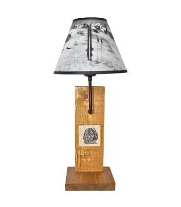 """Lampe """"Bergerie marbre"""" abat-jour """"Skis et Bâtons"""""""