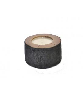 Photophore bois brulé - bougie 8 cm