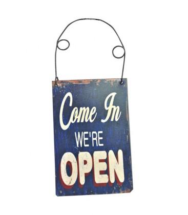 """Plaque de porte """"Open"""" - bleue"""