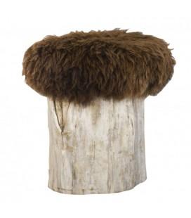 "Poufs ""Yéti"" assise mouton brun"