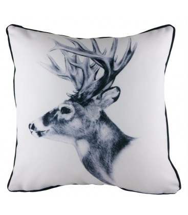 """Coussin """"Cerf Black and White"""""""
