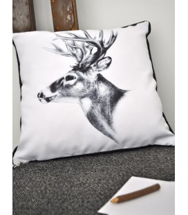 "Coussin ""Cerf Black and White"""