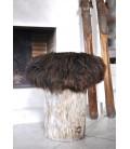 """Pouf """"Yéti"""" assise mouton brun"""