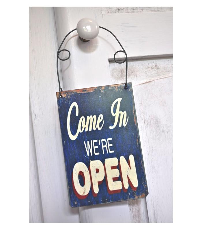 Plaque de porte open bleue mon home site de - Site de decoration en ligne ...