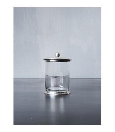 Pot à coton verre lisse et métal