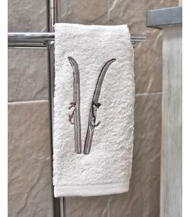 Serviette de toilette, motif skis vintage
