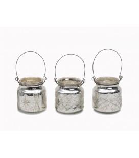Set de 3 Photophores Alba Nkuku métal et verre