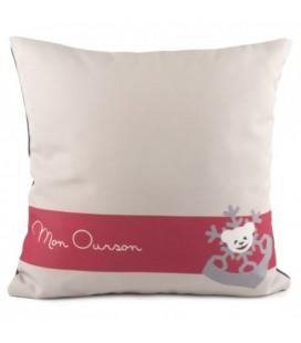 """Coussin """"Mon ourson"""" blanc et rose"""
