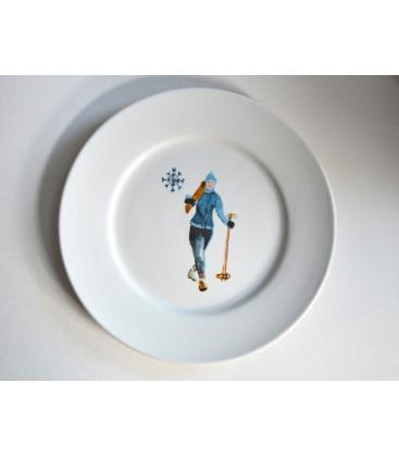 Set de 4 assiettes à dessert flocon skieuse
