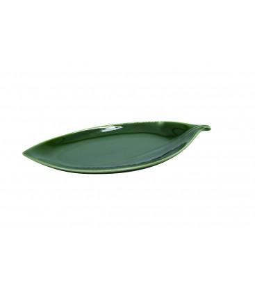 Plat à sushis en porcelaine japonaise - feuille verte 22cm
