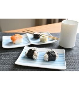 Petit plat à sushis en porcelaine japonaise motifs bleus