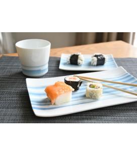 Plat à sushis en porcelaine japonaise motifs bleus 22cm