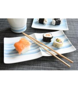 Plat à sushis en porcelaine japonaise motifs bleus 24cm