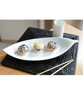 Plat à sushis en porcelaine japonaise - feuille blanche 38cm