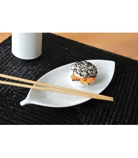 Plat à sushis en porcelaine japonaise - feuille blanche 22cm