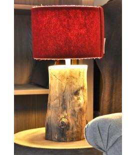 """Lampe """"Circaète"""" rouge abat-jour laine"""