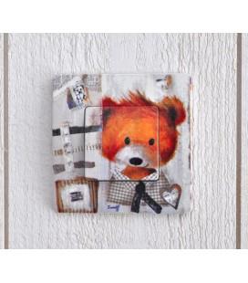 """Interrupteur décoré """"ours brun"""""""