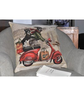"Coussin ""Scooter Dog"" rouge"